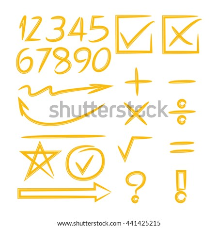 math sign, arrows and number - stock vector