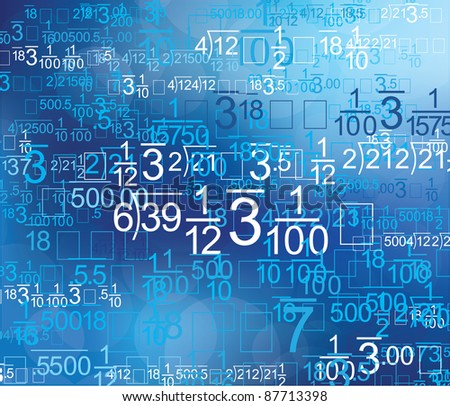 Math Style Blue Background - stock vector