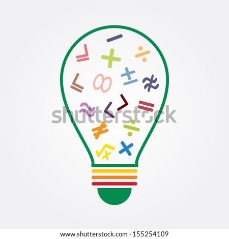 math symbol in bulb - stock vector