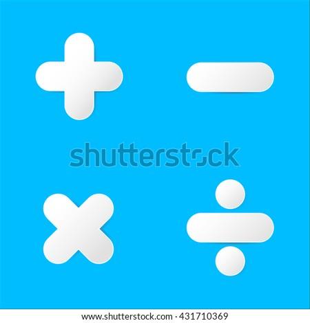 Math symbol : plus,minus,multiply,divide in paper cut  - stock vector