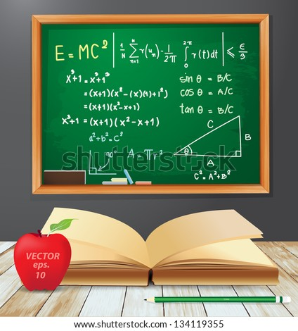 Math symbols emc2 concept, Chalkboard drawings with open book, red apple, pencil on wood plank texture background, Vector illustration template design - stock vector