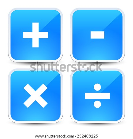 Math symbols on blue backgrounds (addition, subtraction, multiplication, division signs, symbols, marks) - stock vector