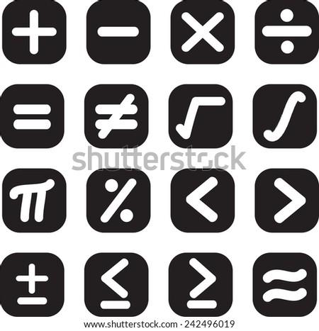 Math symbols set - stock vector