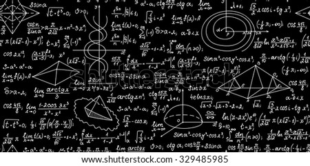 Math vector seamless pattern with  formulas, geometrical plots and calculations. Endless texture. You can use any color of background