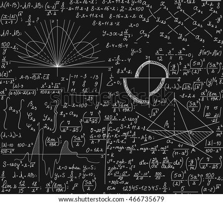 Math vector seamless pattern with mathematical formulas, technical research, plots, equations, calculations
