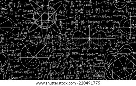 Math vector seamless pattern with plots, figures and calculations. You can use any color of background - stock vector
