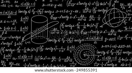 Math vector seamless texture with algebra plots, trigonometrical functions and calculations - stock vector