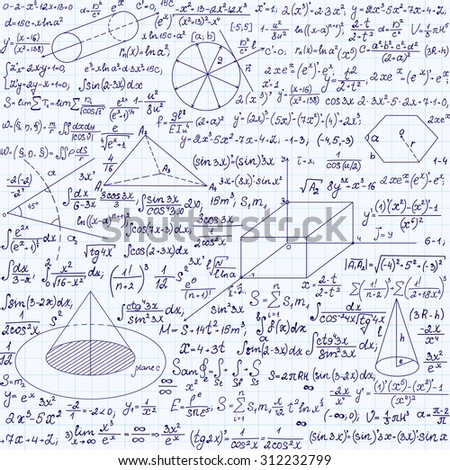"Math vector seamless texture with equations, formulas, plots, figures and other mathematical calculations, ""handwritten on a copybook paper"""