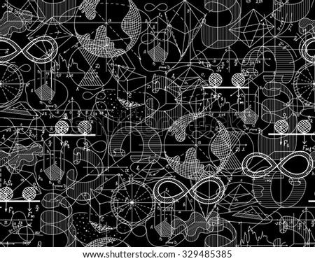 Mathematical endless texture with shuffled plots and math figures. You can use any color of background - stock vector