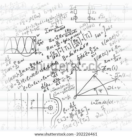 Mathematical equations and formulas - illustration - stock vector