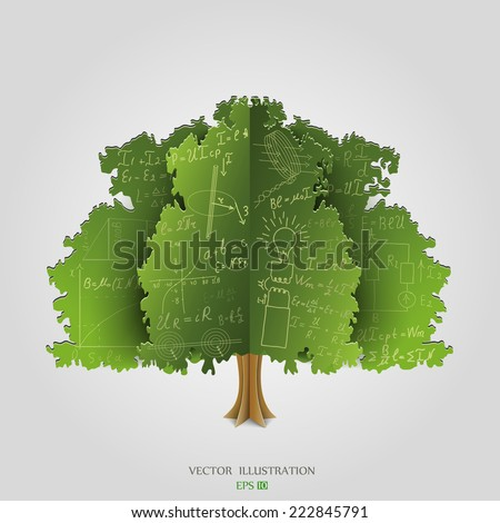 Mathematical equations and formulas on green paper tree - illustration - stock vector