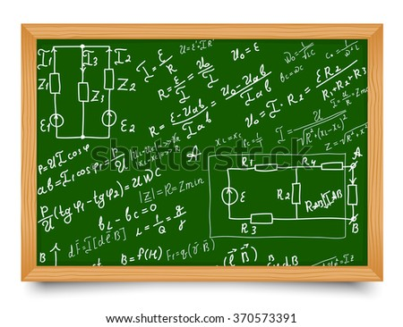 Mathematical equations and formulas on school blackboard. Vector illustration. Doodle - stock vector