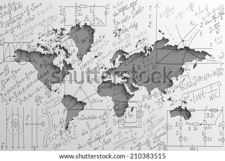 Mathematical equations and formulas on the background of the world map - illustration - stock vector