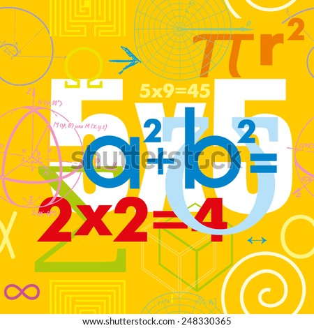 Mathematical formulas and symbols. Seamless vector pattern - stock vector