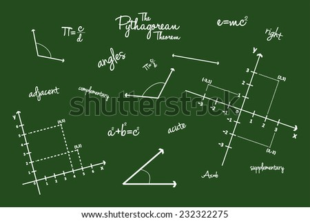 Mathematical Geometry Signs On Blackboard - stock vector