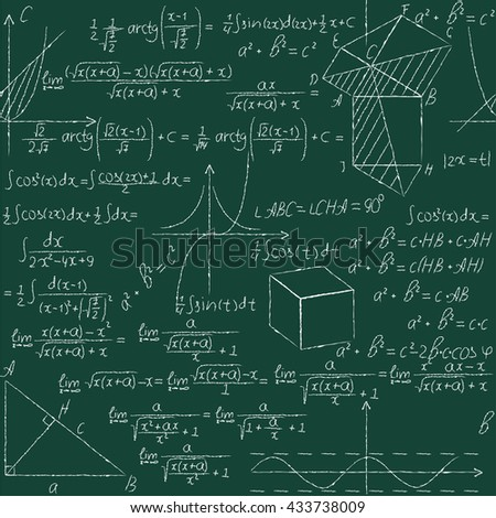 Mathematical seamless pattern with geometry formulas, math graph,triangle . Vector illustration.