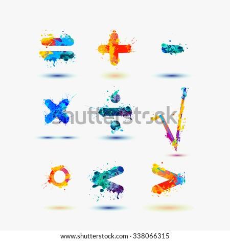 Mathematical signs. Splash paint - stock vector