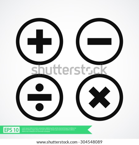 mathematical signs vector icon