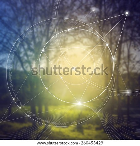 Mathematical symbols and digits in nature. The formula of nature. Greek letters. There is no beginning and no end of the Universe, and no beginning and no end of the Life and the Bliss. - stock vector
