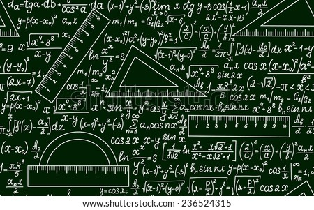 Mathematical vector seamless pattern with angle protractors, triangles, drawing rulers, formulas and calculations on a green background - stock vector