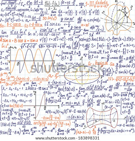 "Mathematical vector seamless pattern with formulas and figures, ""handwritten on the copybook paper"", different colors.  - stock vector"