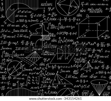 Mathematical vector seamless pattern with formulas, plots, functions, equations and algebraic and geometric figures - stock vector