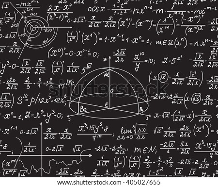 Mathematical vector seamless pattern with geometrical figures, formulas, equations, handwritten on a grey blackboard