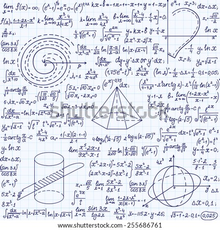 "Mathematical vector seamless pattern with geometrical figures, plots, formulas, ""handwritten on a grid copybook paper"""