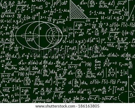 Mathematical vector seamless pattern with plots and formulas on a green background - stock vector