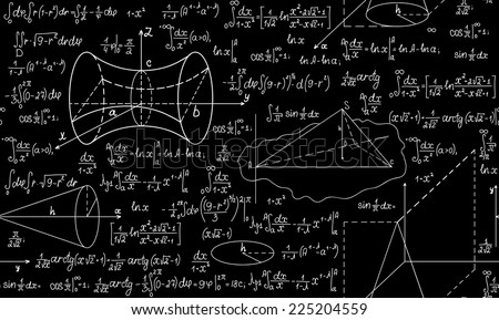 Mathematical vector seamless pattern with plots, formulas and figures. You can use any color of background - stock vector