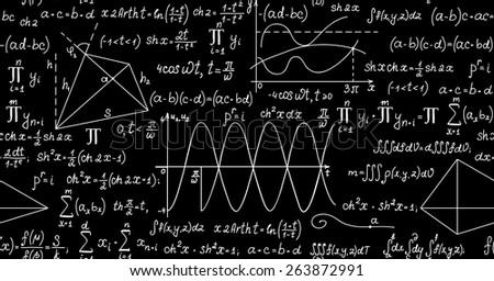 Mathematical vector seamless pattern with plots, formulas, geometrical figures and calculations. You can use any color of background - stock vector