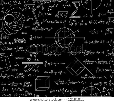 "Mathematical vector seamless pattern with various algebra signs, formulas, calculations, equations, numbers. Math endless texture, ""handwritten with chalk on blackboard"" effect"