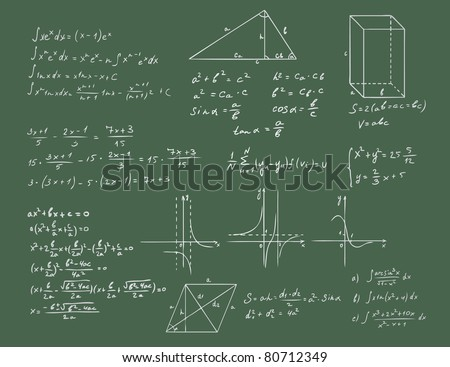 mathematics and geometry on green blackboard vector set
