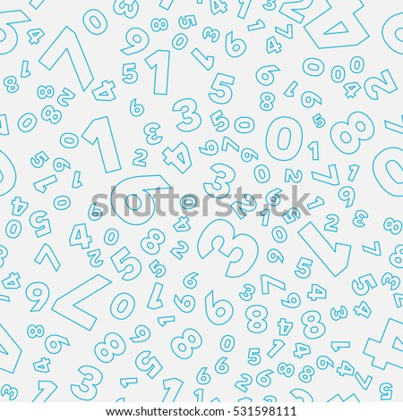 Mathematics background - different numbers in random pattern. Colorful school pattern for children. Blue and gray math background for kids. Seamless abstract vector pattern.