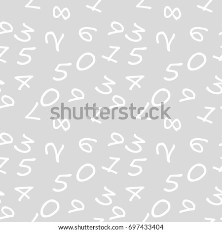 Mathematics Background Different Numbers Random Pattern Stock Vector