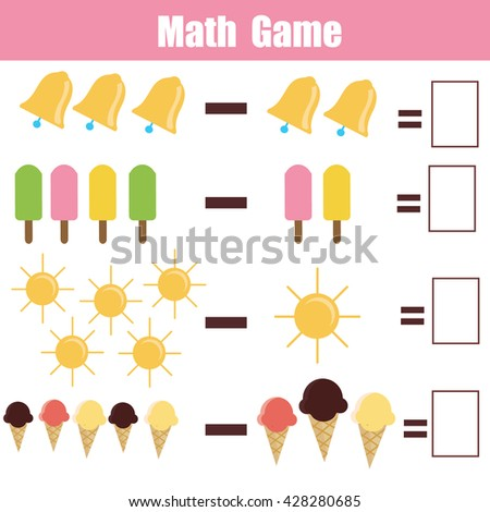 Mathematics educational game for children. Learning subtraction task for kids - stock vector