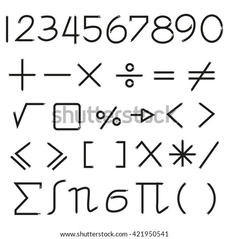 mathematics, maths icons and number - stock vector