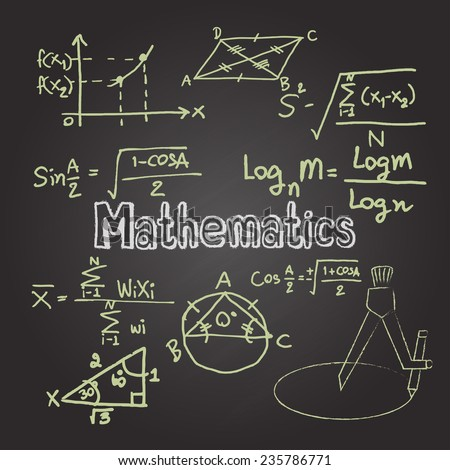 Mathematics on chalkboard - stock vector