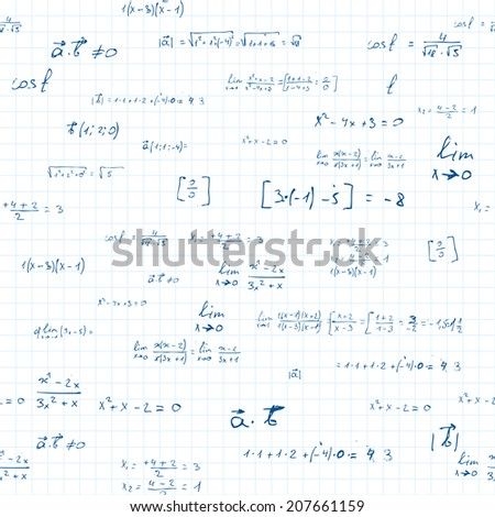 mathematics. seamless pattern with mathematic formulas in the style of doodles. vector eps10