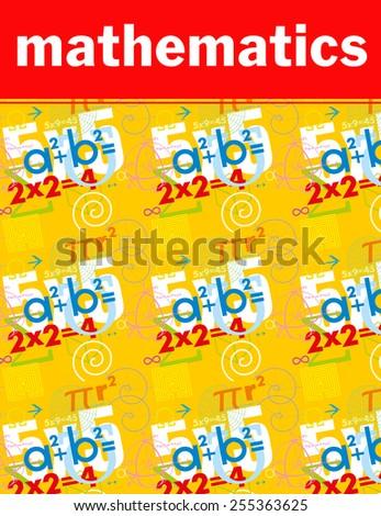 Mathematics. Vector cover. Textbook, notebook - stock vector