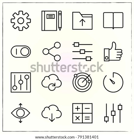 Matherial Design line icons set folder and reading