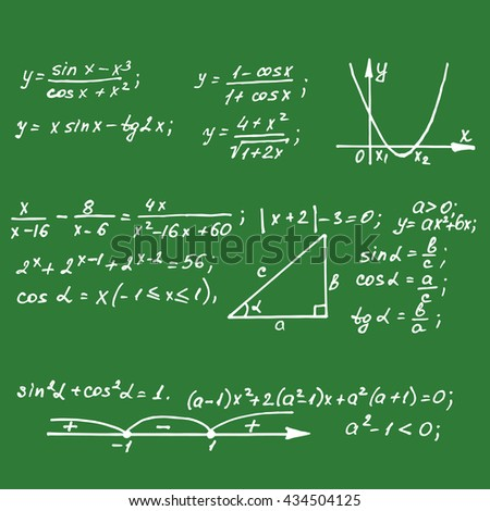 Maths equations on school board. Vector hand-drawn illustration. - stock vector