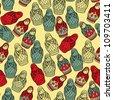 Matreshka doll seamless pattern - stock vector