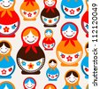 Matreshka doll - seamless vector pattern - stock vector