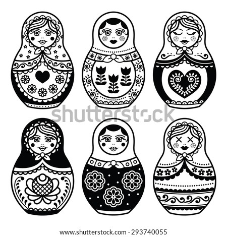 Matryoshka, Russian doll icons set  - stock vector