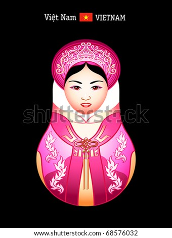 Matryoshkas of the World: vietnamese girl in ao dai dress