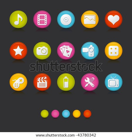 Matte Circle Icons - Multimedia in Black. Adobe Illustrator Vector File EPS 8 for multiple applications. See more...