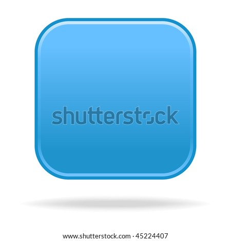 Matted blue satin blank rounded squares buttons with drop shadow on white background