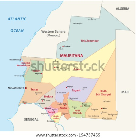 mauritania administrative map - stock vector