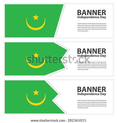 mauritania Flag banners collection independence day - stock vector